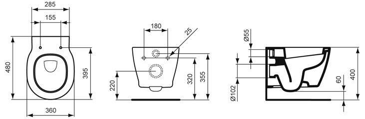 Ideal Standard Connect Wandtiefspülklosett kompakt E8018