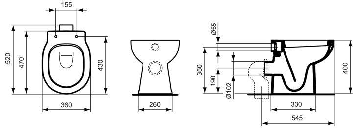 Toilette maße  Ideal Standard Connect Standtiefspülklosett E8043-01 - MEGABAD