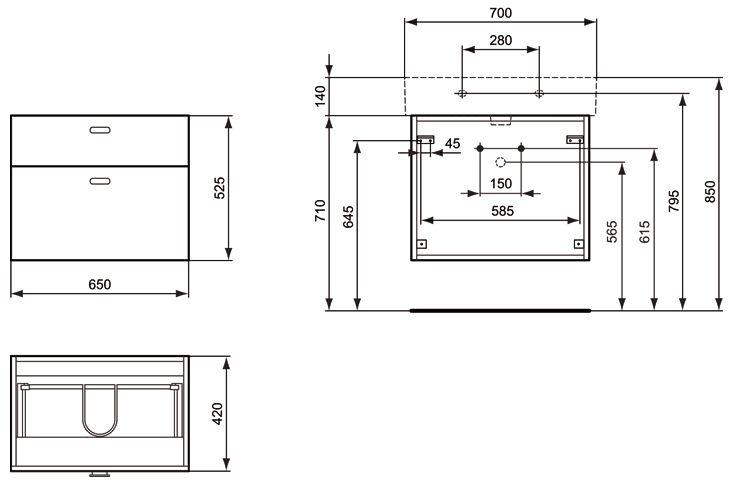 ideal standard connect waschtischunterschrank cube 65 cm megabad. Black Bedroom Furniture Sets. Home Design Ideas