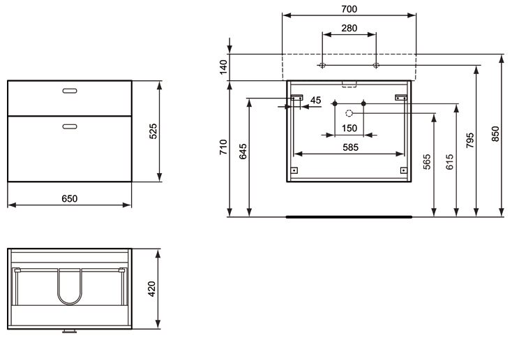 ideal standard connect waschtischunterschrank cube 65 cm. Black Bedroom Furniture Sets. Home Design Ideas