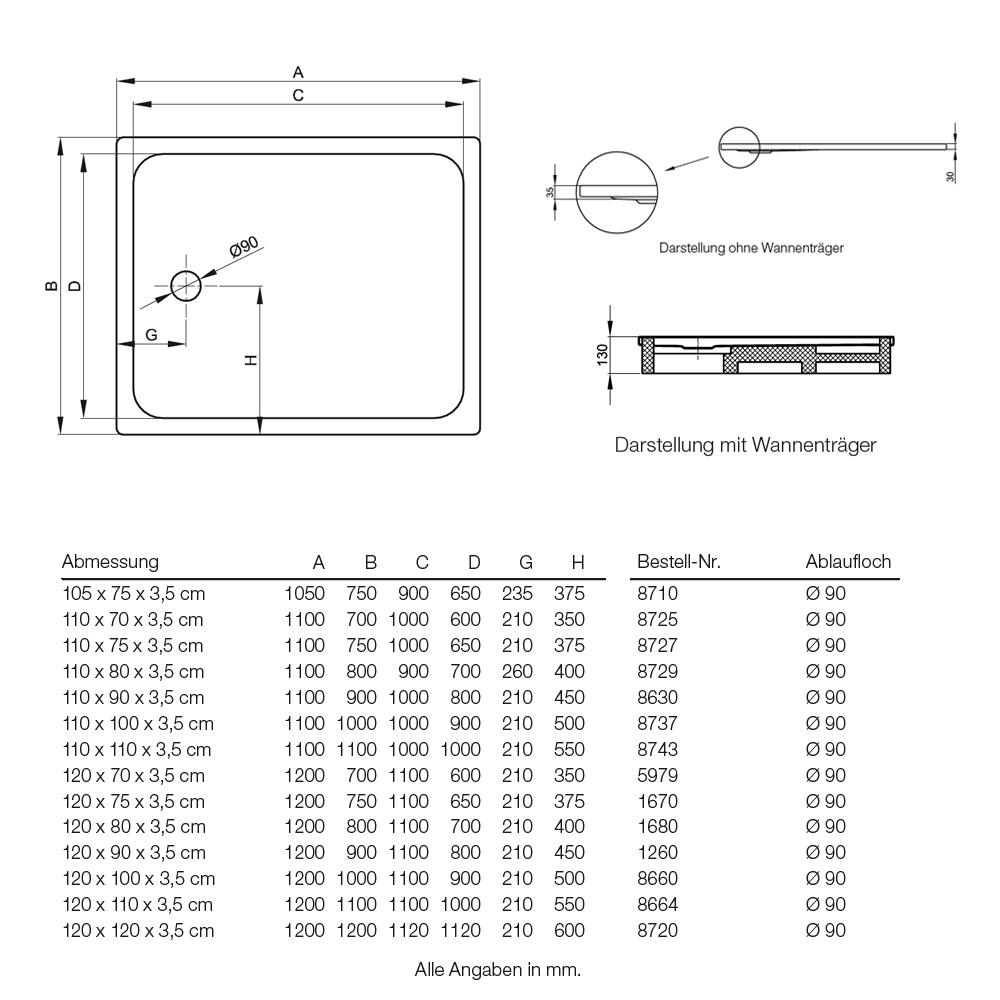 Bette Ultra Duschwanne superflach 120 x 90 x 3,5 cm - MEGABAD | {Duschwanne flach 120 x 90 50}