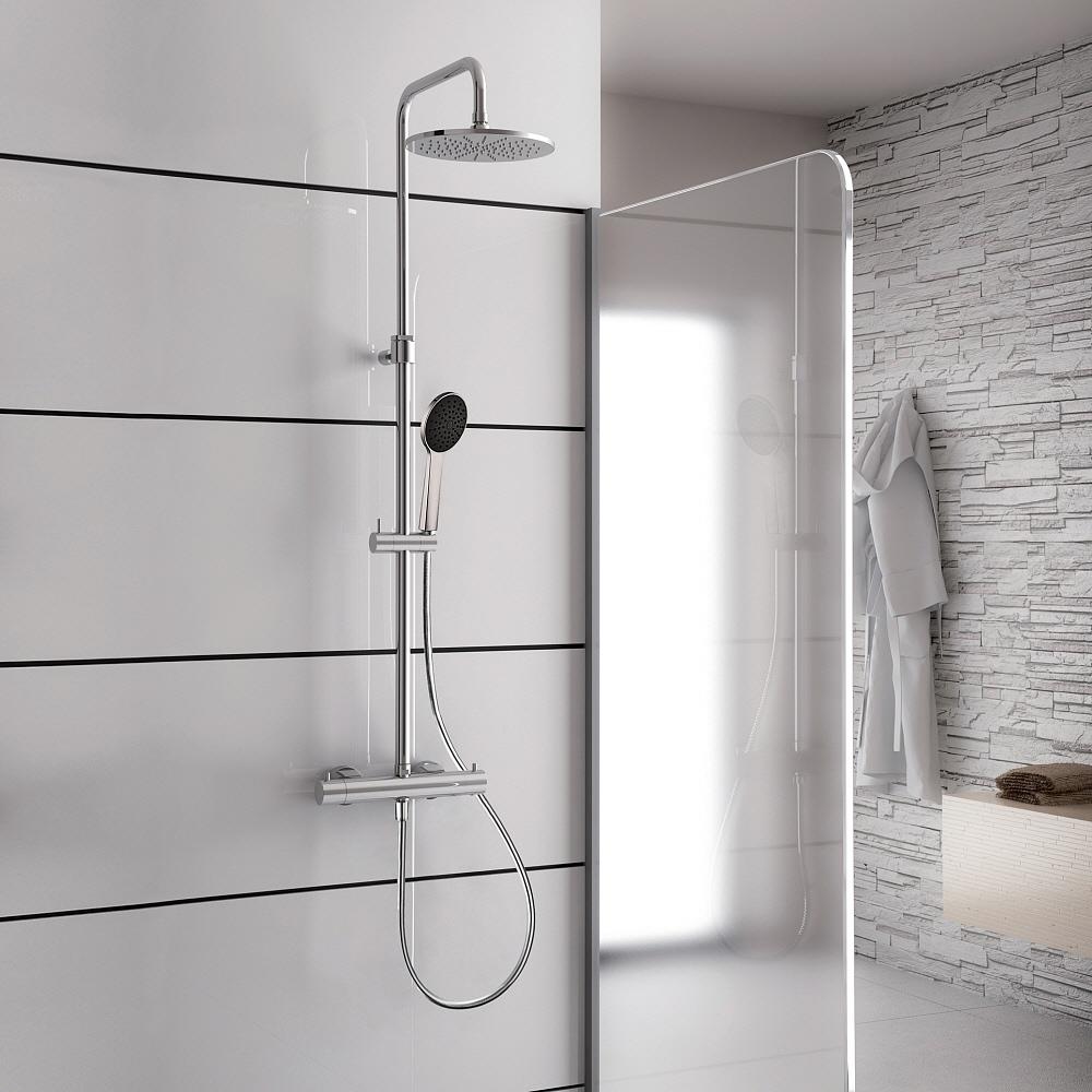 kronenbach duschsystem 2 0 rund mit thermostat und kopfbrause 22 5 cm 27129000kbn megabad. Black Bedroom Furniture Sets. Home Design Ideas