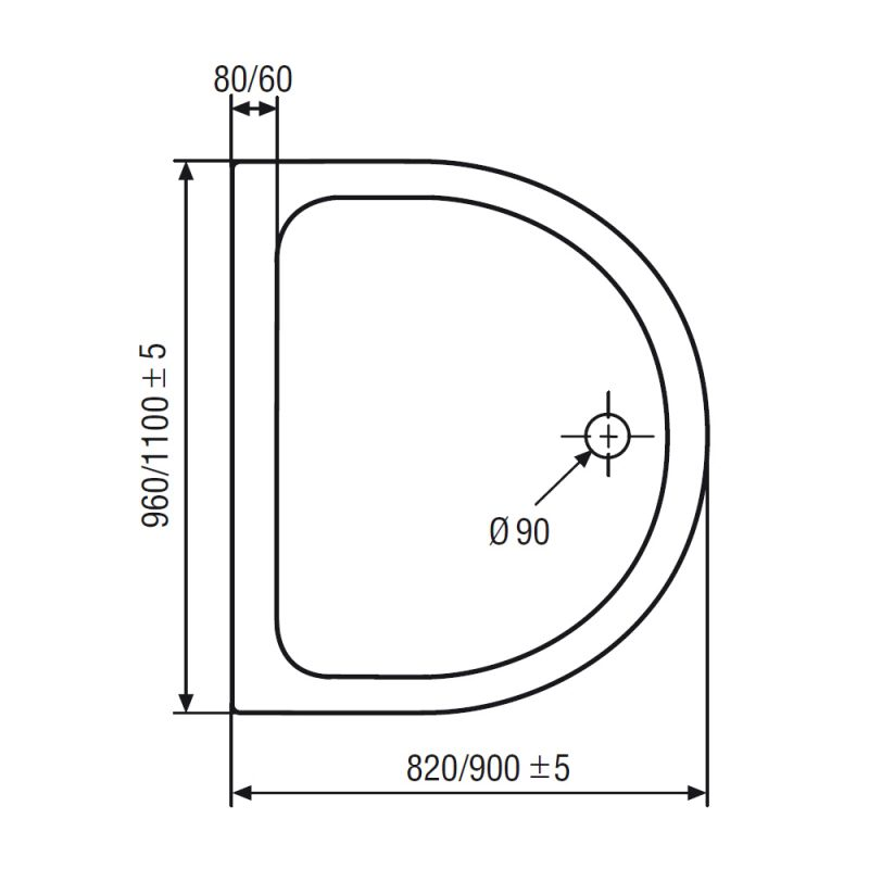 hsk halbkreis acryl duschwanne super flach 110 x 90 cm megabad. Black Bedroom Furniture Sets. Home Design Ideas
