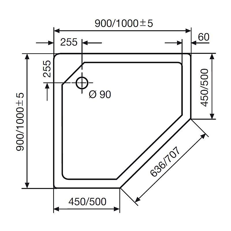 HSK Fünfeck-Duschwanne super-flach 90 x 90 cm - MEGABAD | {Duschwanne maße 43}