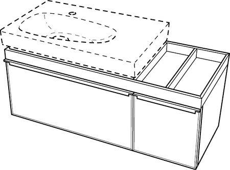 keramag citterio waschtischunterschrank mit ablagefl che rechts 835421 megabad. Black Bedroom Furniture Sets. Home Design Ideas