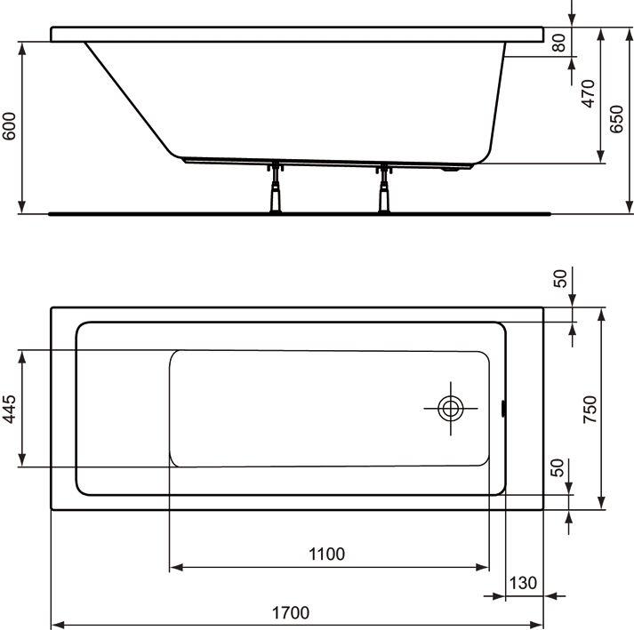 ideal standard strada k rperform badewanne 170 cm art k260601 megabad. Black Bedroom Furniture Sets. Home Design Ideas