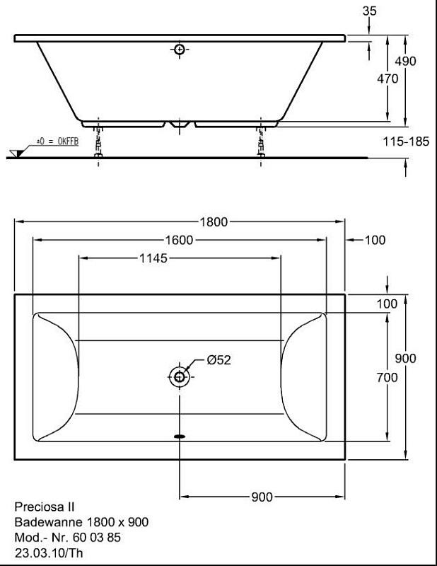 keramag preciosa ii badewanne 180 x 90 cm megabad. Black Bedroom Furniture Sets. Home Design Ideas