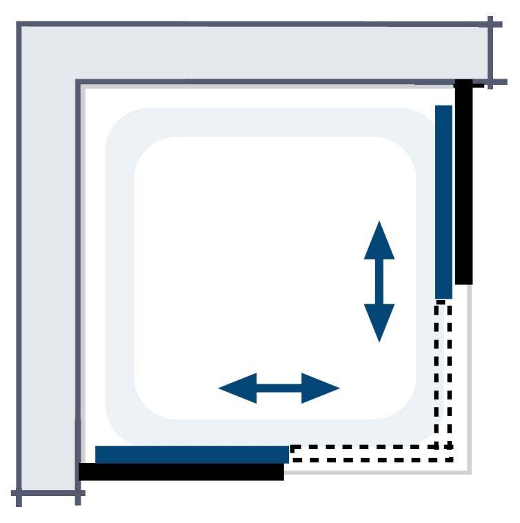 Innovativ HSK Favorit Eckeinstieg Gleittür 4-teilig, 75 x 90 cm - MEGABAD DX18