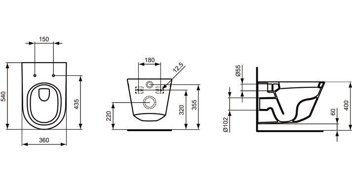ideal standard tonic wand wc tiefsp ler k315701 megabad. Black Bedroom Furniture Sets. Home Design Ideas