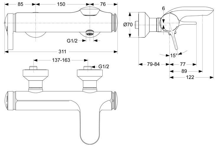 ideal standard melange einhebel badearmatur a4271aa megabad. Black Bedroom Furniture Sets. Home Design Ideas