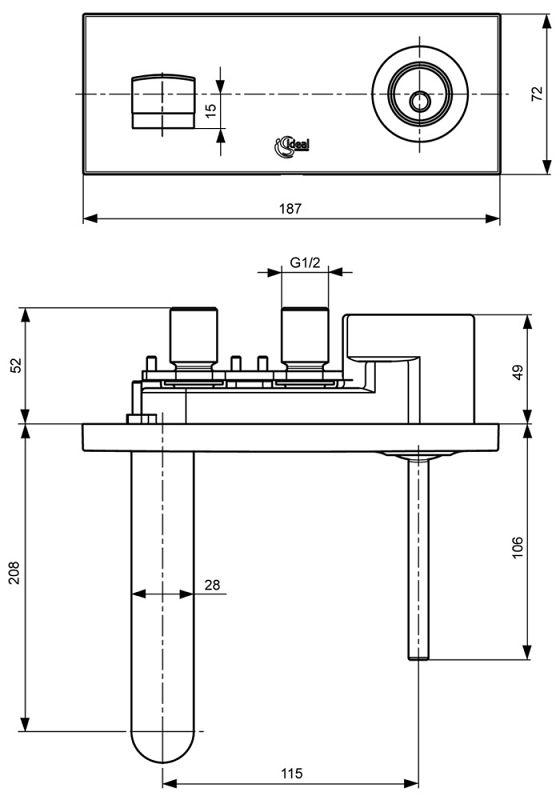 ideal standard simplyu 2 loch waschtisch wandarmatur mit rosette rechteckig megabad. Black Bedroom Furniture Sets. Home Design Ideas