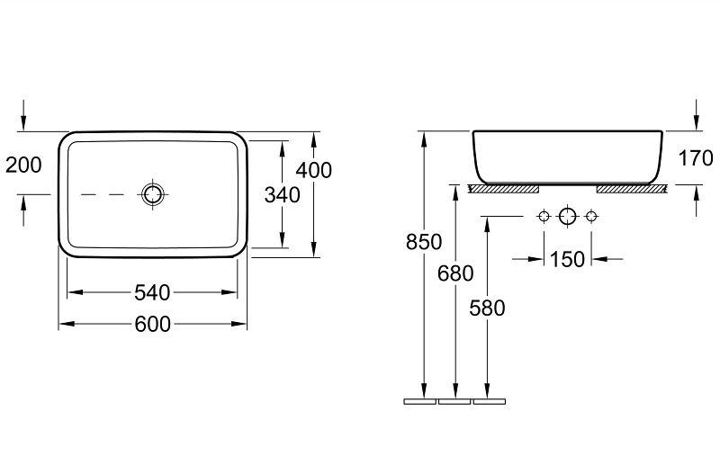 villeroy boch architectura aufsatzwaschtisch rechteckig ohne berlauf megabad. Black Bedroom Furniture Sets. Home Design Ideas