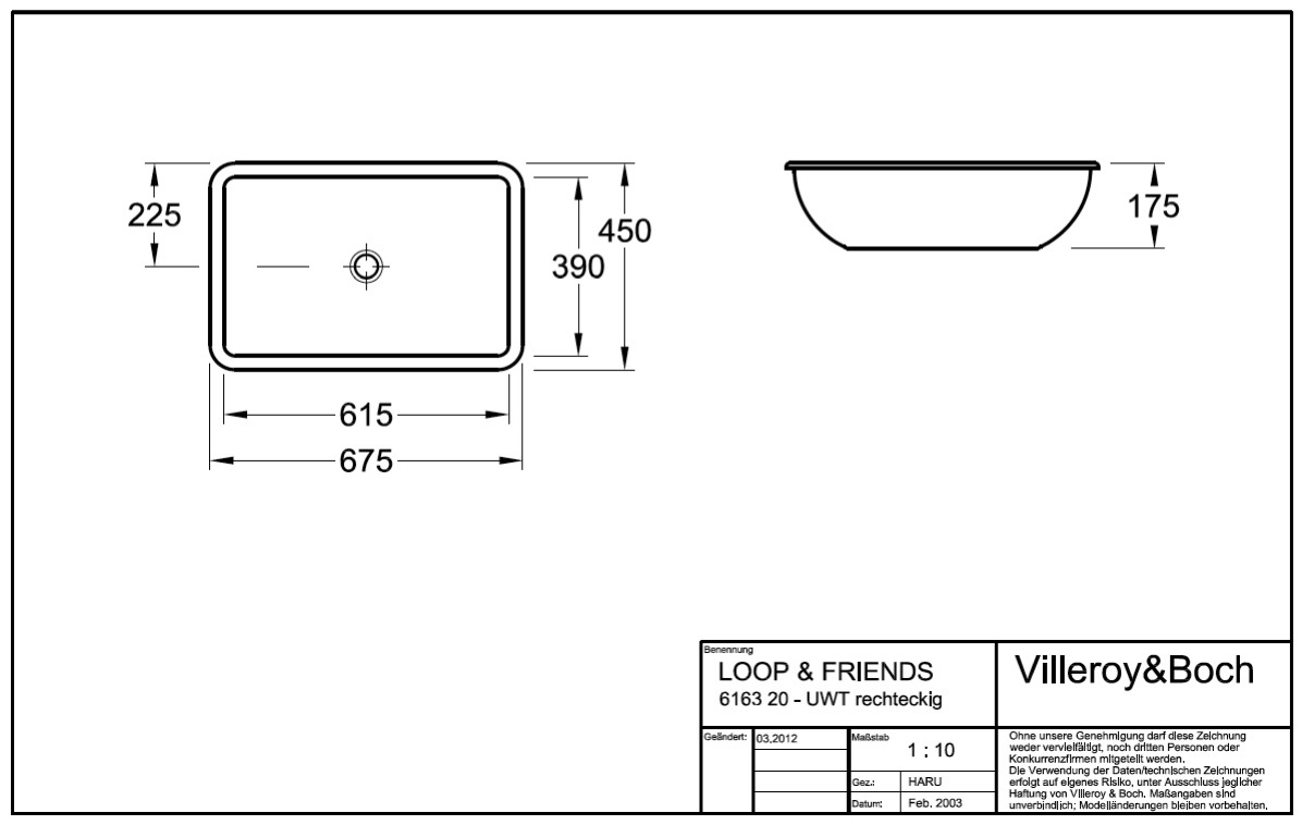 villeroy boch loop friends unterbauwaschtisch 61 5 cm. Black Bedroom Furniture Sets. Home Design Ideas