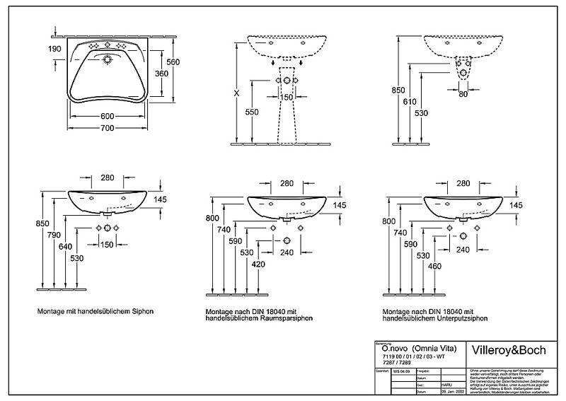 villeroy boch o novo waschtisch vita 70 0 cm art 71190101 bei megabad megabad. Black Bedroom Furniture Sets. Home Design Ideas