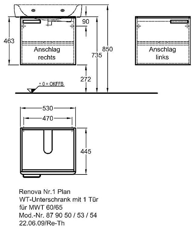 keramag renova nr 1 plan waschtischunterschrank 53 x 44 5. Black Bedroom Furniture Sets. Home Design Ideas