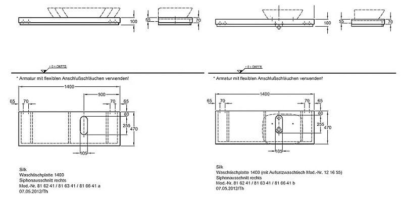 keramag silk waschtischplatte 140 cm mit siphonausschnitt. Black Bedroom Furniture Sets. Home Design Ideas
