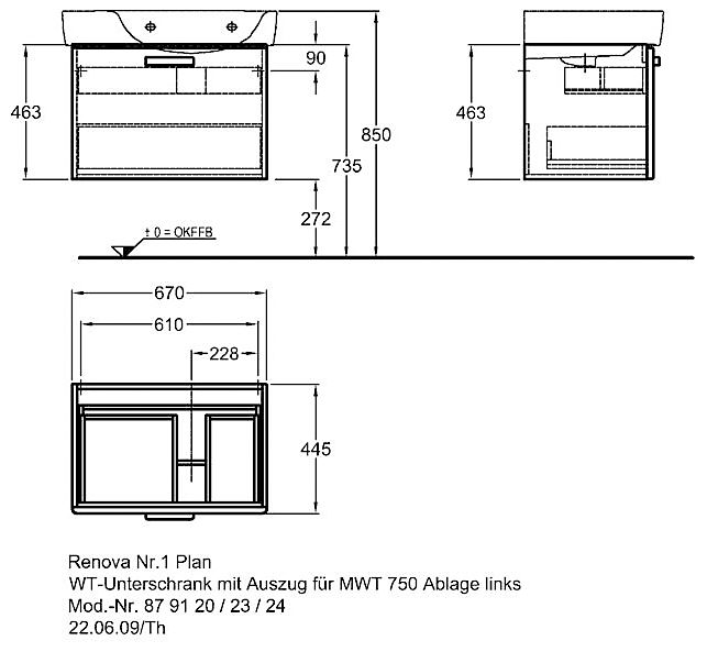 keramag renova nr 1 plan waschtischunterschrank 67 x 44 5 x 46 3 879120000 megabad. Black Bedroom Furniture Sets. Home Design Ideas