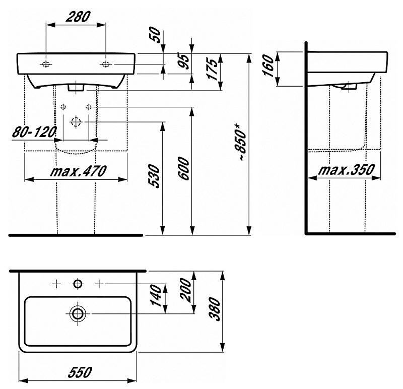 laufen pro s compact waschtisch 55 cm h8189580001041 megabad. Black Bedroom Furniture Sets. Home Design Ideas