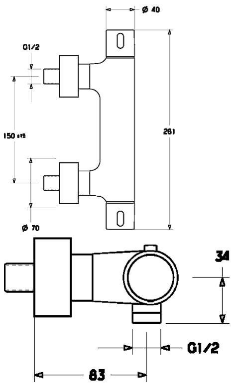 Hansa Hansaprisma Brause Thermostatbatterie Ap 58080101