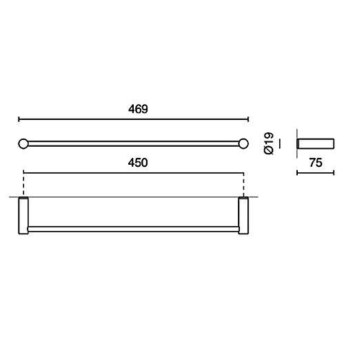 zack civio handtuchstange 45 cm 40251 megabad. Black Bedroom Furniture Sets. Home Design Ideas