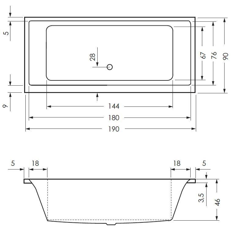 megabad architekt pure badewanne 190 x 90 cm mb17052 megabad. Black Bedroom Furniture Sets. Home Design Ideas