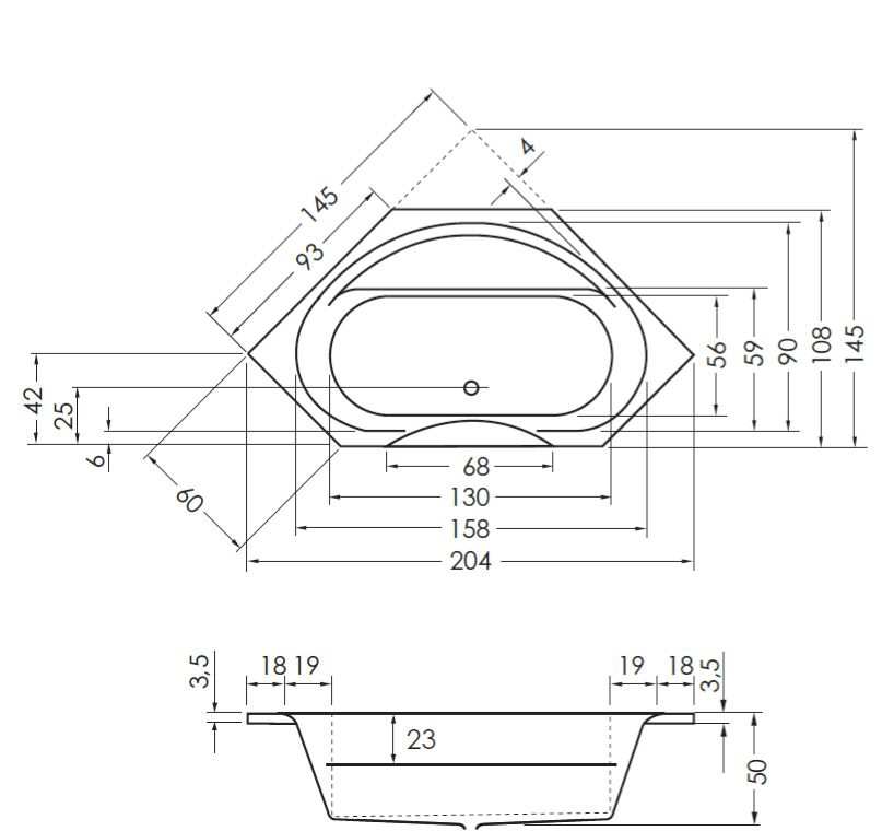 Megabad Architekt Eckbadewanne 145 x 145 cm MB18216 - MEGABAD | {Eckbadewanne maße 130 83}