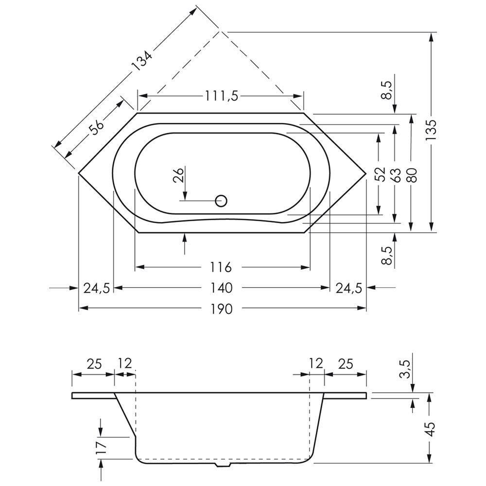 Sechseckbadewanne  Megabad Architekt Sechseckbadewanne 190 x 80 cm MB00439 - MEGABAD