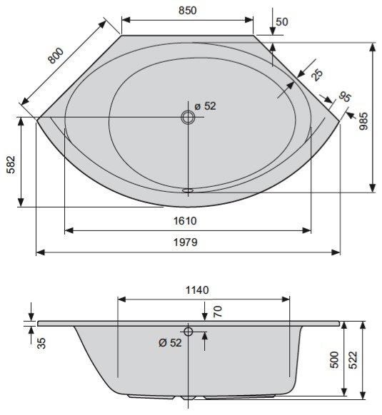 Duscholux Smart-Line 31 Eckbadewanne 140 x 140 cm inkl. Schürze ... | {Eckbadewanne schürze 96}
