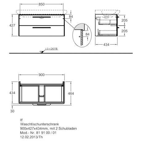 Einzigartig Keramag it Waschtischunterschrank 90 cm 819100 - MEGABAD IX84