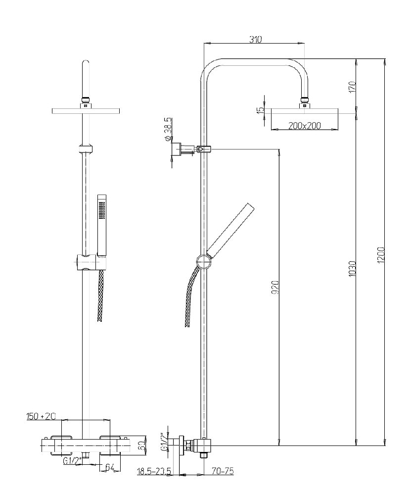 architekt 100 brausekombination mit thermostat mb84cr689th. Black Bedroom Furniture Sets. Home Design Ideas