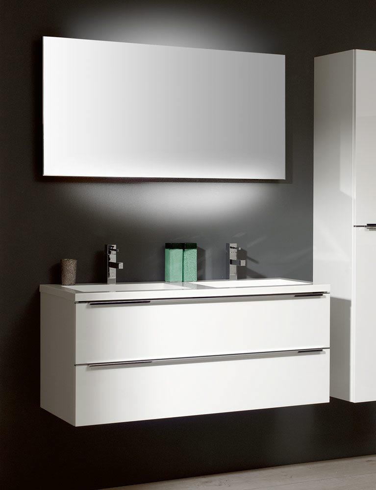 Architekt 500 Möbelkombination 120 Cm Mit Mineralmarmor Doppelwaschtisch  Und Spiegel Nice Design
