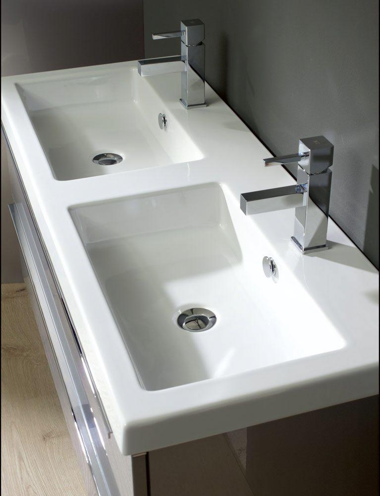 Architekt 500 Möbelkombination 120 cm mit Keramik-Doppelwaschtisch ... | {Doppelwaschbecken keramik 25}