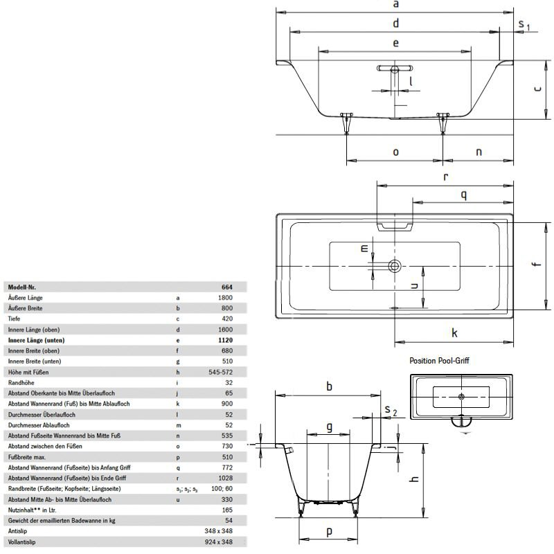 Innovativ Kaldewei Puro Duo 664 Badewanne 266436000001+587570900001+  CF13