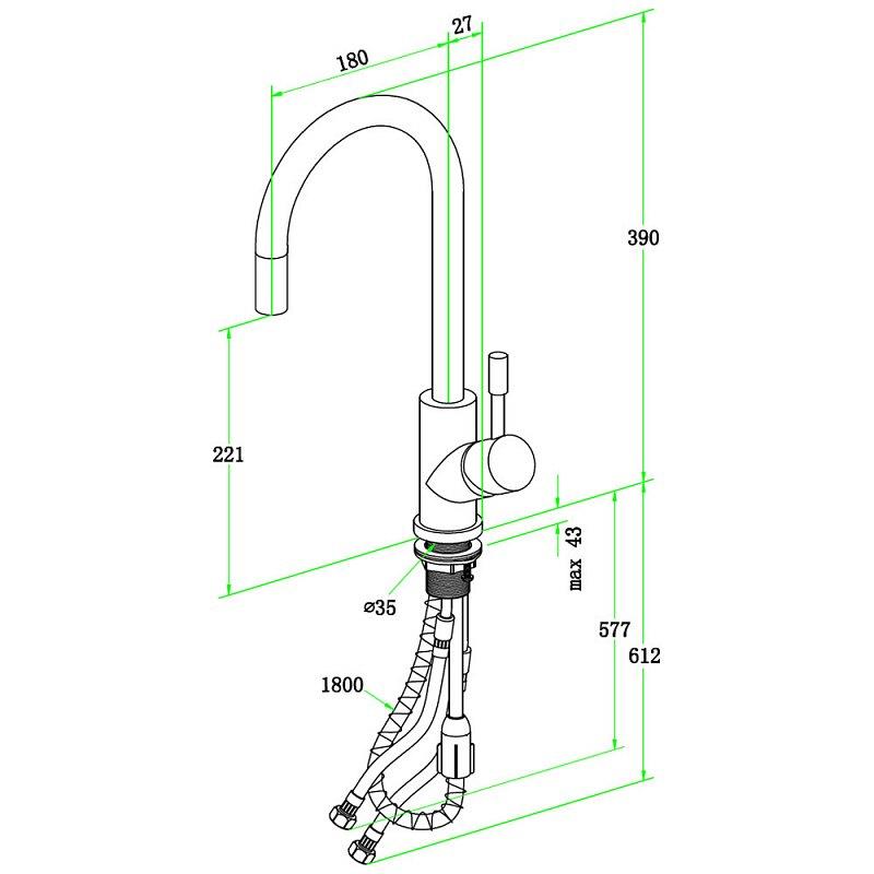 villeroy & boch umbrella flex einhebel-küchenarmatur 925400lc ... - Villeroy Und Boch Küchenarmaturen