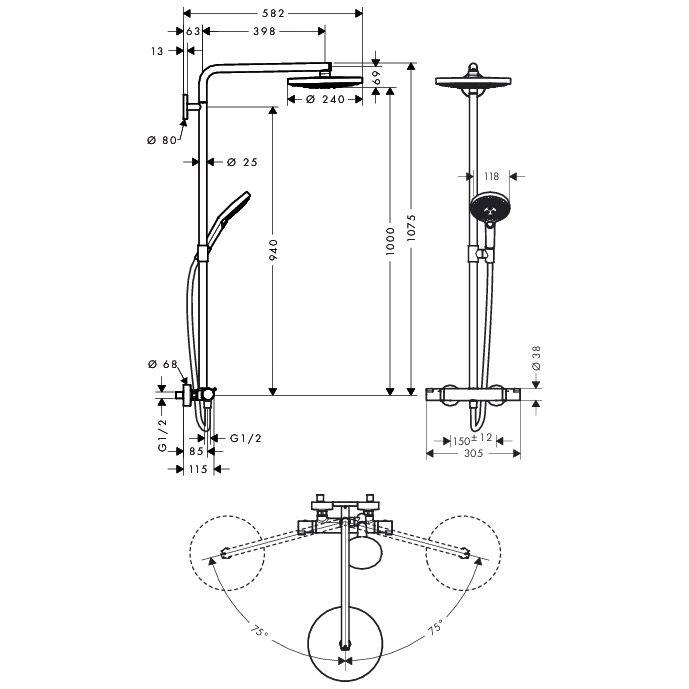 hansgrohe raindance select s 240 2jet showerpipe 27129000. Black Bedroom Furniture Sets. Home Design Ideas