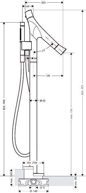 axor starck organic wannenthermostat bodenstehend 12016000 megabad. Black Bedroom Furniture Sets. Home Design Ideas