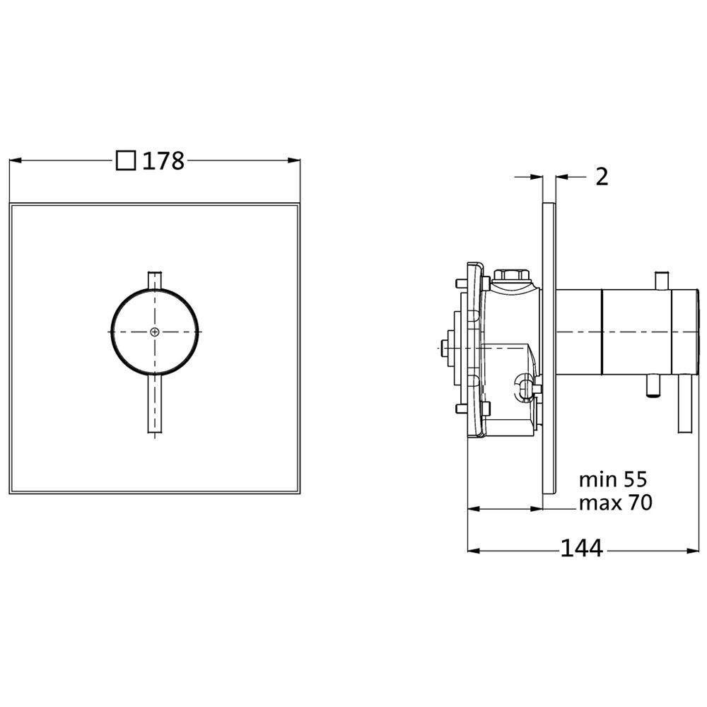herzbach neo castell thermostat brausebatterie megabad. Black Bedroom Furniture Sets. Home Design Ideas