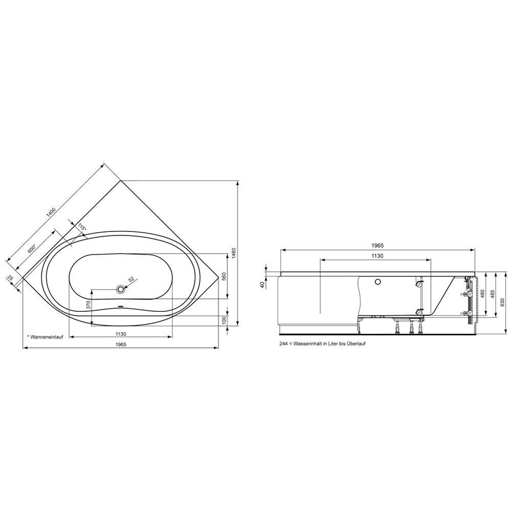 ideal standard aqua eck badewanne k621701 megabad. Black Bedroom Furniture Sets. Home Design Ideas