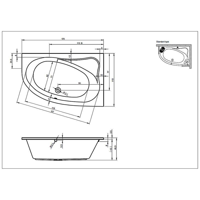 riho lyra raumsparwanne 170 x 110 cm links megabad. Black Bedroom Furniture Sets. Home Design Ideas