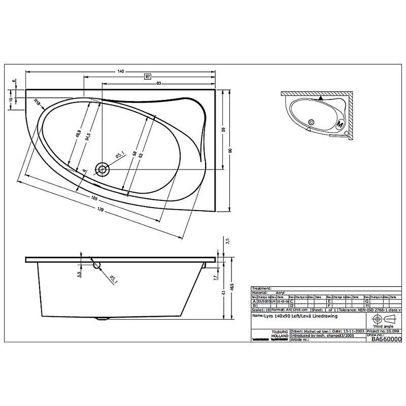 Riho Lyra Raumspar-Badewanne 140 x 90 cm links BA66 - MEGABAD