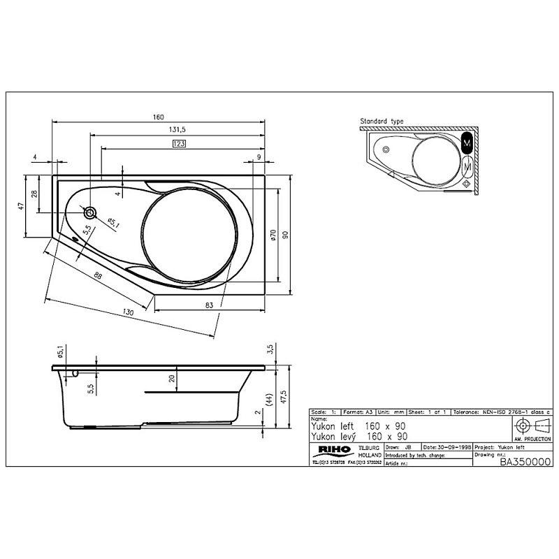 riho yukon badewanne 160 x 90 cm links ba35 megabad. Black Bedroom Furniture Sets. Home Design Ideas