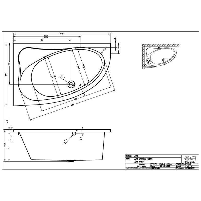 riho lyra raumspar badewanne 140 x 90 cm ba65 megabad. Black Bedroom Furniture Sets. Home Design Ideas