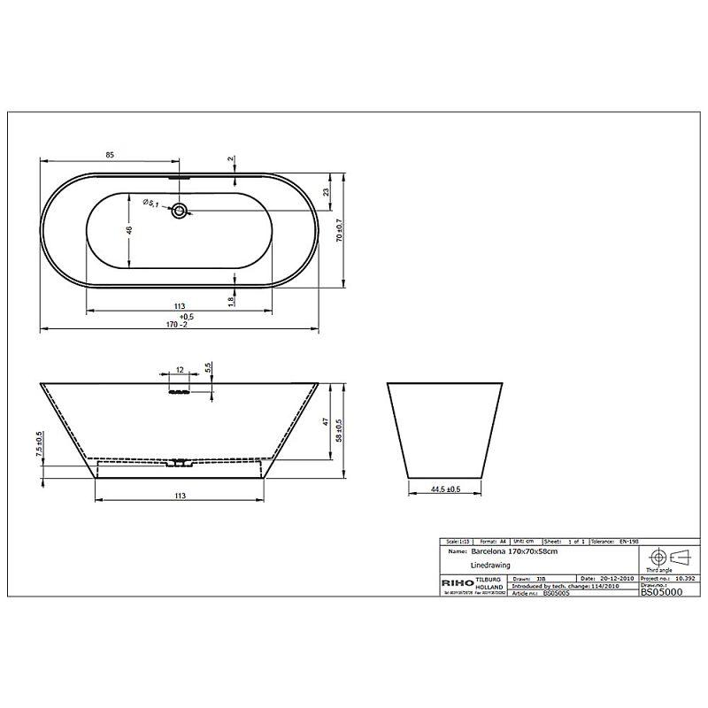 riho barcelona freistehende badewanne 170 x 70 cm bs05. Black Bedroom Furniture Sets. Home Design Ideas
