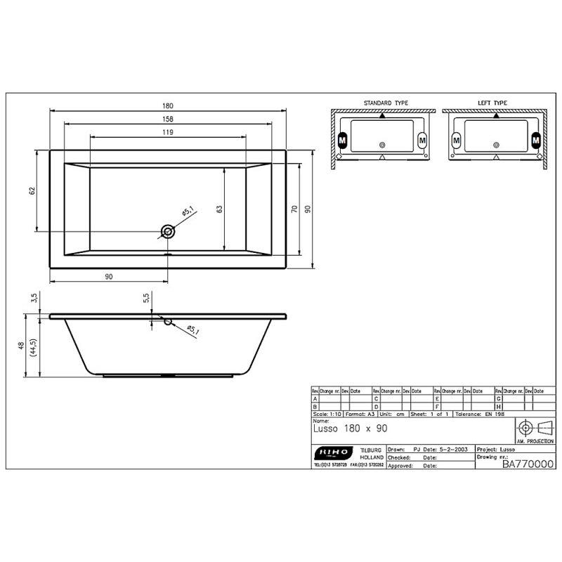 riho lusso rechteckbadewanne 180 x 90 cm ba77 megabad. Black Bedroom Furniture Sets. Home Design Ideas