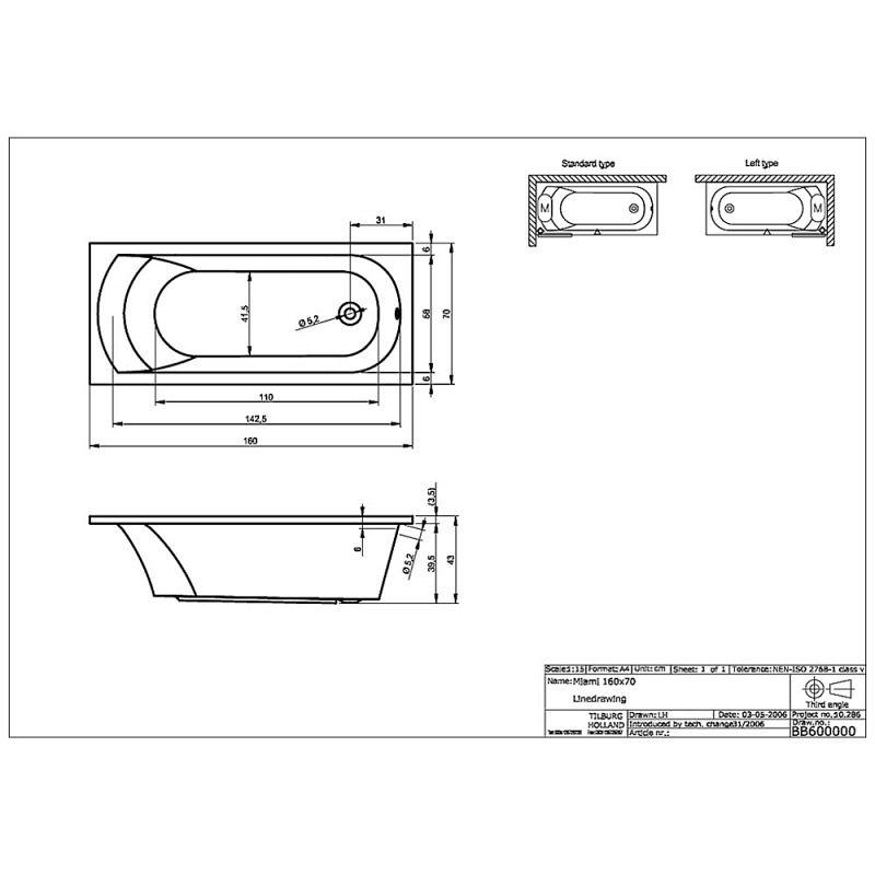 riho miami 160 rechteck badewanne 160 x 70 cm bb60 megabad. Black Bedroom Furniture Sets. Home Design Ideas