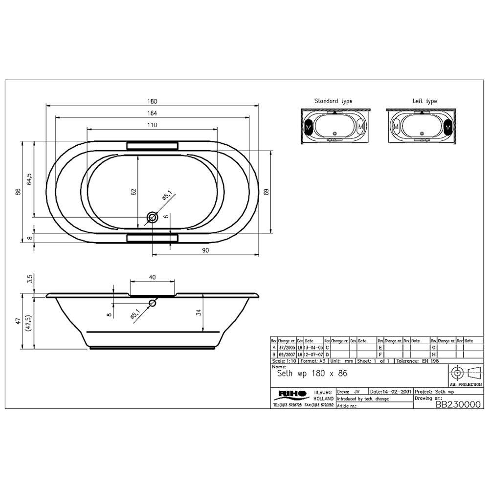 riho seth wp oval badewanne 180 x 86 cm bb23 megabad. Black Bedroom Furniture Sets. Home Design Ideas