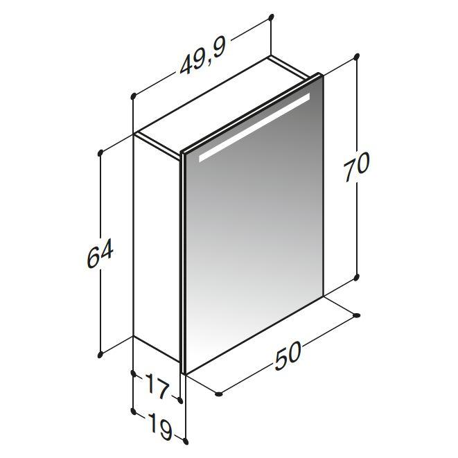 Sehr Gut Architekt 400 Spiegelschrank 50 cm mit LED-Beleuchtung MBSC3751SPE  NA36