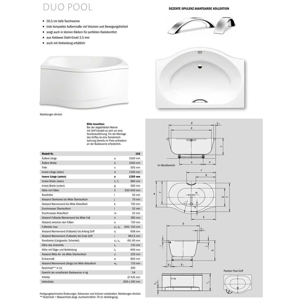 kaldewei duo pool 150 1 badewanne 150 x 100 cm ohne. Black Bedroom Furniture Sets. Home Design Ideas
