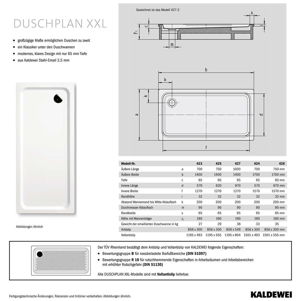 Kaldewei Duschplan 423-1 XXL Duschwanne 70 x 140 x 6,5 cm - MEGABAD | {Duschwanne maße 16}