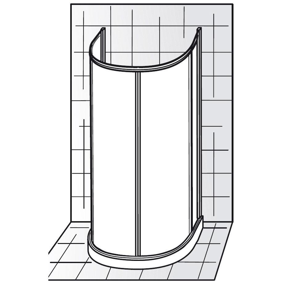 hsk prima gleitt r runddusche halbkreis h he 200 cm megabad. Black Bedroom Furniture Sets. Home Design Ideas